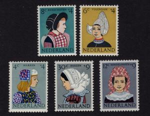 Netherlands B348-B352  1960  MNH    Child welfare regional costumes