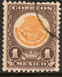 MEXICO 719, $1P COAT OF ARMS 1934 DEFINITIVE USED. VF. (546)