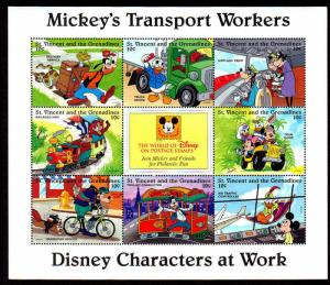 ST VINCENT - 1996 - DISNEY - MICKEY MOUSE ++ TRANSPORT WORKERS - MINT MNH SHEET!