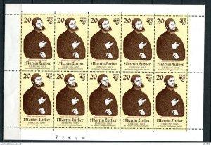 Germany  1982 Martin Luther (Priest) 1 Stamp Sheet MNH MI 2755 Kleinbogen 11063