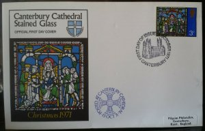 GB 1971 Xmas Canterbury Cathedral Stained Glass Official Canterbury CDS FDC