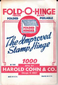 1 PACK OF GREEN FOLD-O-HINGE THE 3RD BEST STAMP HINGES EVER MADE FOLDED 1000