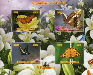 Chad Butterflies Stamps 2012 MNH Butterfly Papillons Insects 4v M/S
