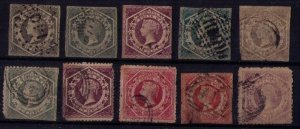 Australia 1854 New South Wales Sc 27-29,31a,39,40,42 Lot Of (10)Imperf/perf F-VF