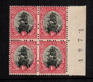 South Africa 34  MNH cat $ 25.00  inverted watermark 888 plate block