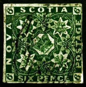 Rare Stamp Nova Scotia #5 Six Pence 1857 Dark Green VF Used Rare CV $2,500+