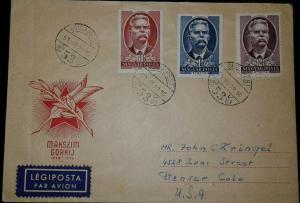 O) 1953 HUNGARY, MAXIM GORKY, BUDAPEST- LEGIPOSTA AIRMAIL, TO USA