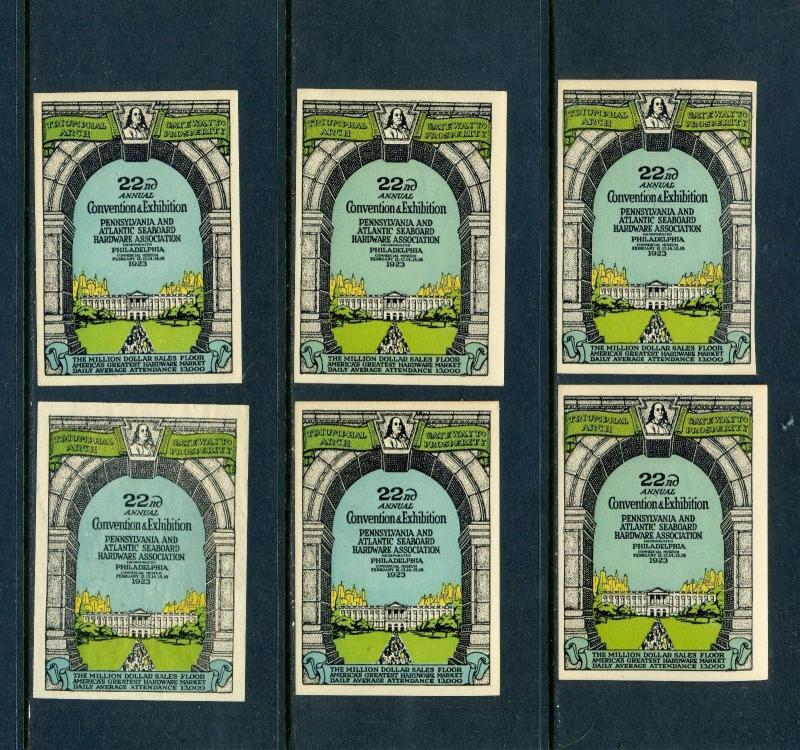 6 VINTAGE 1923 PA & ATLANTIC SEABOARD HARDWARE ASSN EXPO POSTER STAMPS (L604)