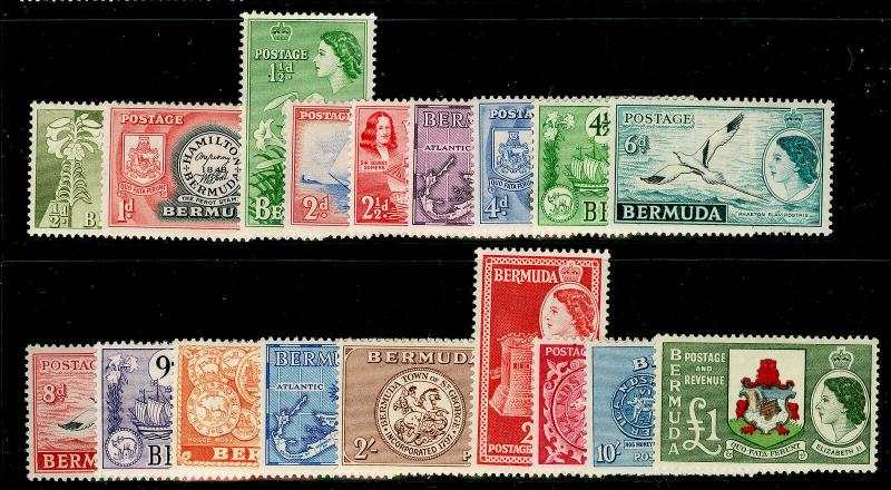 BERMUDA SG135-150, 1953-62 COMPLETE SET, LH MINT. Cat £130.