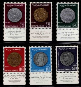 Morocco Scott 216-219,C16-17 MNH Coin on stamp set with tabs CV $17