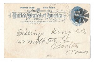 UX11 Postal Card 1894 Fancy Cancel Geometric Wedges North Woodstock NH to Boston