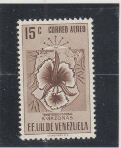 Venezuela  Scott#  C502  MH  (1951 Map of Amazonas & Orchid)