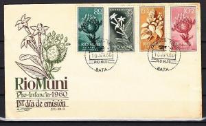Rio Muni, Scott cat. 10-11, B1-B2. Various Flowers issue. First day cover.