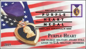 19-212, 2019, Purple Heart, Pictorial Postmark, First Day Cover, Noblesville IN