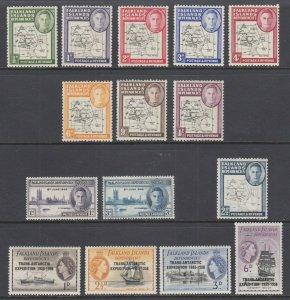 Falkland Islands Dependency Sc 1L1/1L37 MLH. 1946-1956 issues, 4 complete sets