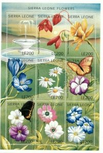 Sierra Leone MNH S/S Fountain Of Flowers 9 Stamps