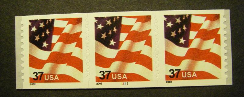 Scott 3632, 37 cent Waving Flag, PNC3 #3333, MNH