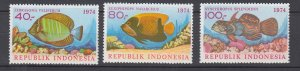 J29338, 1974 indonesia set mnh #926-8 fish