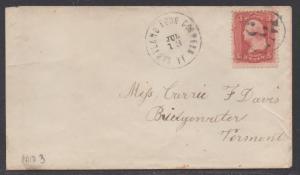 **US 19th Century Cover Scott #94, Hartland Four Corners, VA , July 13th