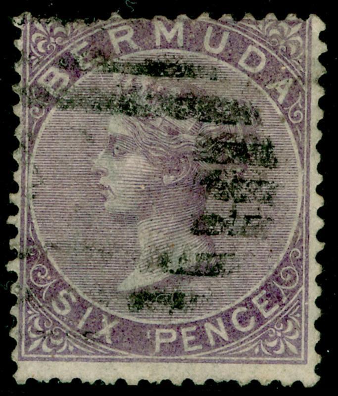 BERMUDA SG6, 6d dull purple, used. Cat £75.