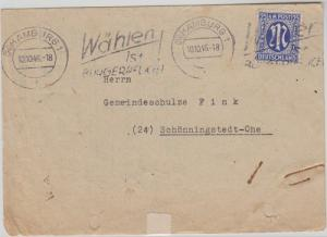 Insurance form:Hamburg-Schoningstedt 10.10.1946,US print