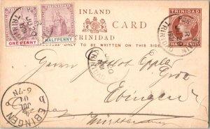 Trinidad 1/2d and 1d Britannia on 1/2d QV Postal Card 1901 Port of Spain, Tri...
