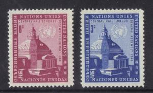 United Nations New York 1958 MNH assembly buidling complete