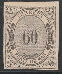 MEXICO JX16, 60¢ Porte de Mar. UNUSED, HR OG. VF.