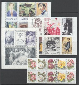 Sweden Sc 1699a, 1836a, 1906a, 2075a, MNH. 1988-94 Booklet Panes, 4 different VF