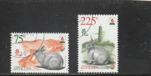 Netherlands Antilles  Scott#  864-5  CTO 1999 New Year)