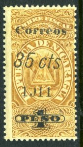 Nicaragua 1911 Fiscal Issues 35¢/1 Peso Broken S VFU T244 ⭐⭐⭐⭐⭐⭐