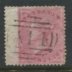 GB 1857 4d rose cancelled by a Tobago West Indies A14