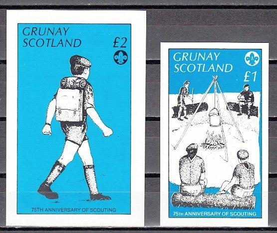 Grunay, Scotland Local. 1982 issue. Scout Anniversary on 2 s/sheets