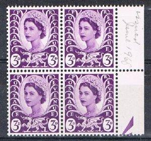 GB (Wales) 180134 - 1967-9 3d MNH block