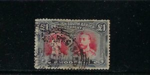 RHODESIA SCOTT #118 1910 DOUBLE HEAD POUND - PERF 14- PERF USED-(SPACE FILLER)