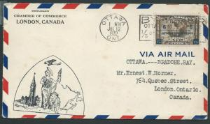 CANADA 1932 6c Ottawa Conference on first flight cover to Bradore Bay......44662