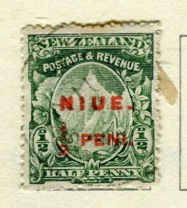 NIUE; 1902 surcharged issue used 1/2d. value