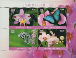 Chad 2018 Orchid Flowers Butterfly 4v Mint Stamps Sheet S/S. (#106)