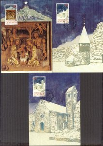 Liechtenstein 1992 Christmas 3 Maxi Cards FDC