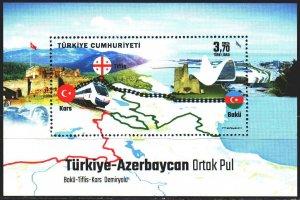 Turkey. 2017. bl171. Railway, train. MNH.