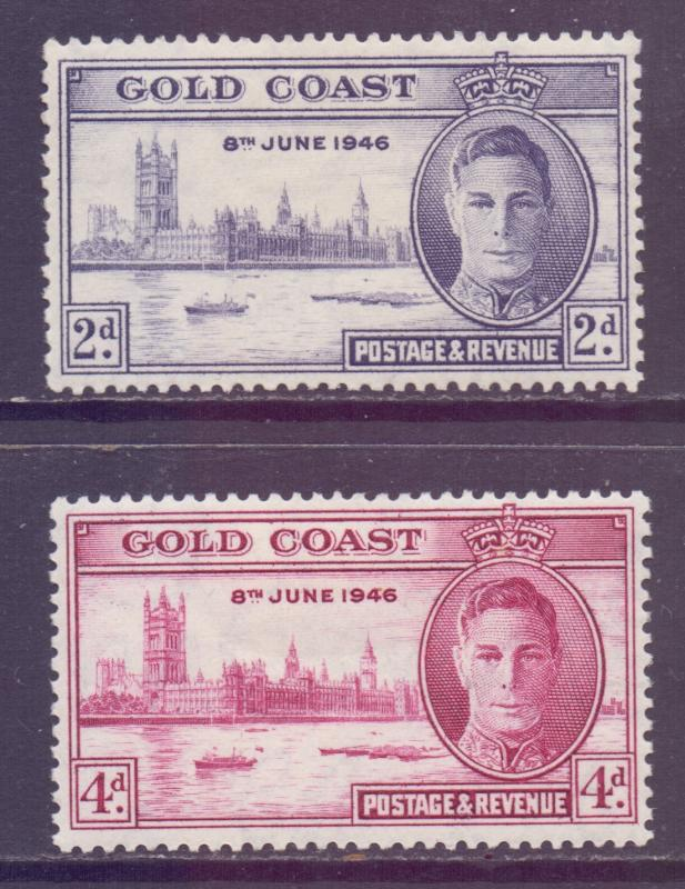 Gold Coast Scott 128/129 - SG133a/134a, 1946 Victory Set MH*