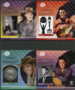 PALAU 2017 ELVIS PRESLEY SET OF FOUR SOUVENIR SHEETS MINT NEVER  HINGED