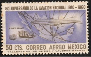 MEXICO C247 50¢ 50th Anniv. of Mexican Aviation. UNUSED, OG. F-VF.