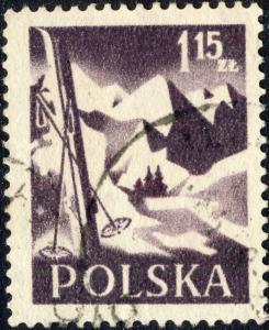 POLOGNE / POLAND 1956 Mi969A 1,15 Zl. Hiking p.12 1/2:12 3/4 - VF Used