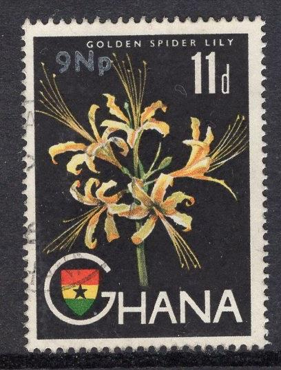 Ghana   #280  1967 surch  used  9np on 11d lily
