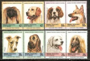 St. Vincent Bequia MNH 178-81 Dogs 1985 SCV 3.50