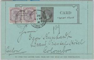56504 -    CEYLON  - POSTAL HISTORY:  POSTAL STATIONERY LETTER CARD 1897