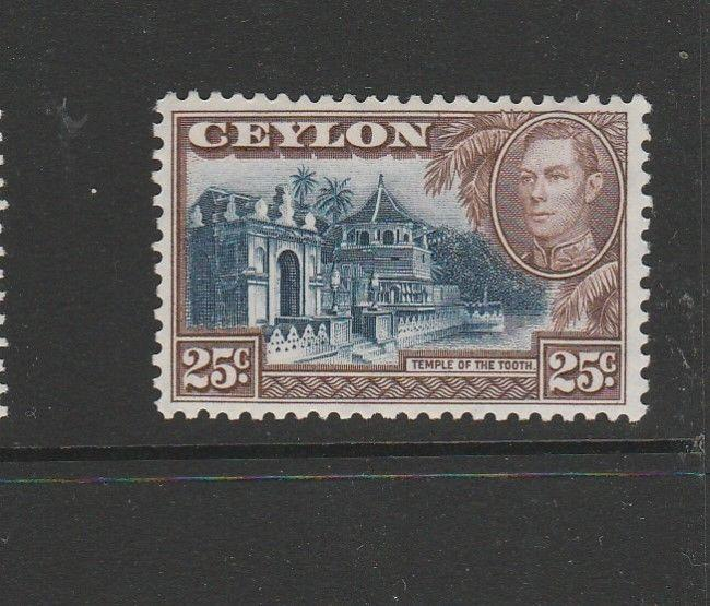 Ceylon 1938 GV1 25c Wmk Upright, MM SG 392a