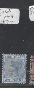 TURKS  ISLANDS (P3009B)  QV 2 1/2D    SG 65   MOG