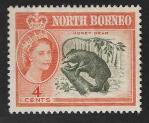 North Borneo Scott 281 MH* QE2 Honey Bear stamp, MH*  stamp expect similar cente
